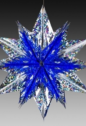 Звезда из фольги сине-серебряная голографическая, средняя