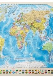 Карта Мира. Политическая с флагами. 1: 85 млн (с магнитными креплениями)