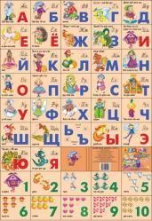 Плакат. Азбука русская+счет разрез. Сказочная240х335