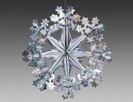 Снежинка из фольги Звездочки сереб. голог/H241616HS